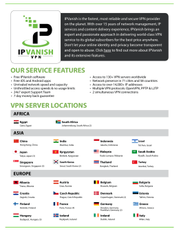 OUR SERVICE FEATURES VPN SERVER LOCATIONS
