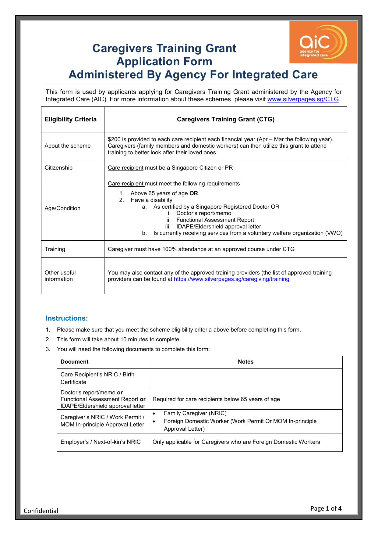Caregivers Training Grant Application Form Administered By