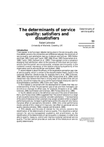 The determinants of service quality: satisfiers and dissatisfiers