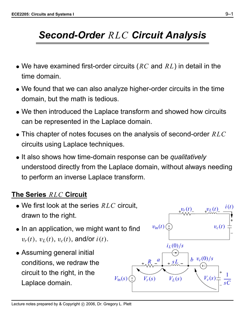Second order rlc circuit analysis robcynllc Images
