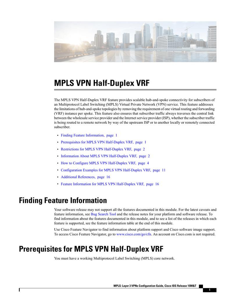 MPLS VPN Half-Duplex VRF