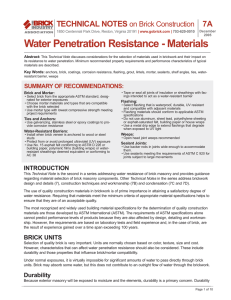 Water Penetration Resistance - Materials