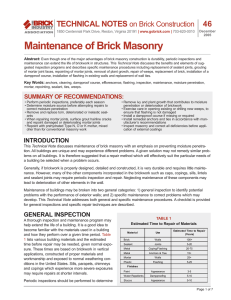 Technical Note 46 on Maintenance of Brick Masonry