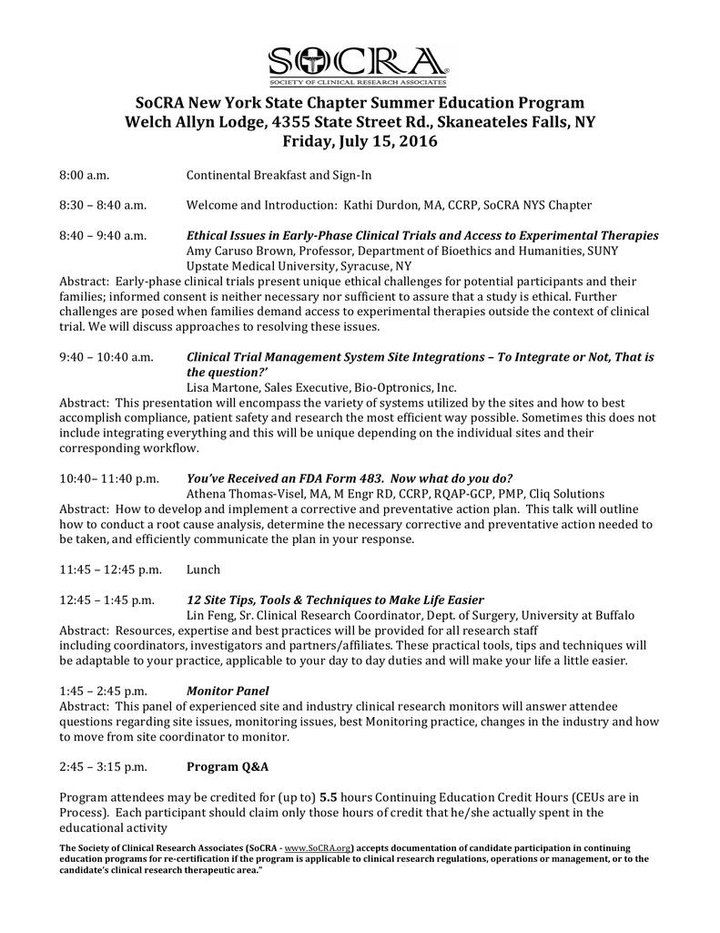 Socra New York State Chapter Summer Education Program Welch