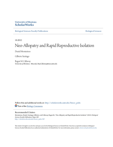 Neo-Allopatry and Rapid Reproductive Isolation