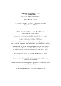 PHYSICS ADMISSIONS TEST SAMPLE PAPER (2015 style, issued