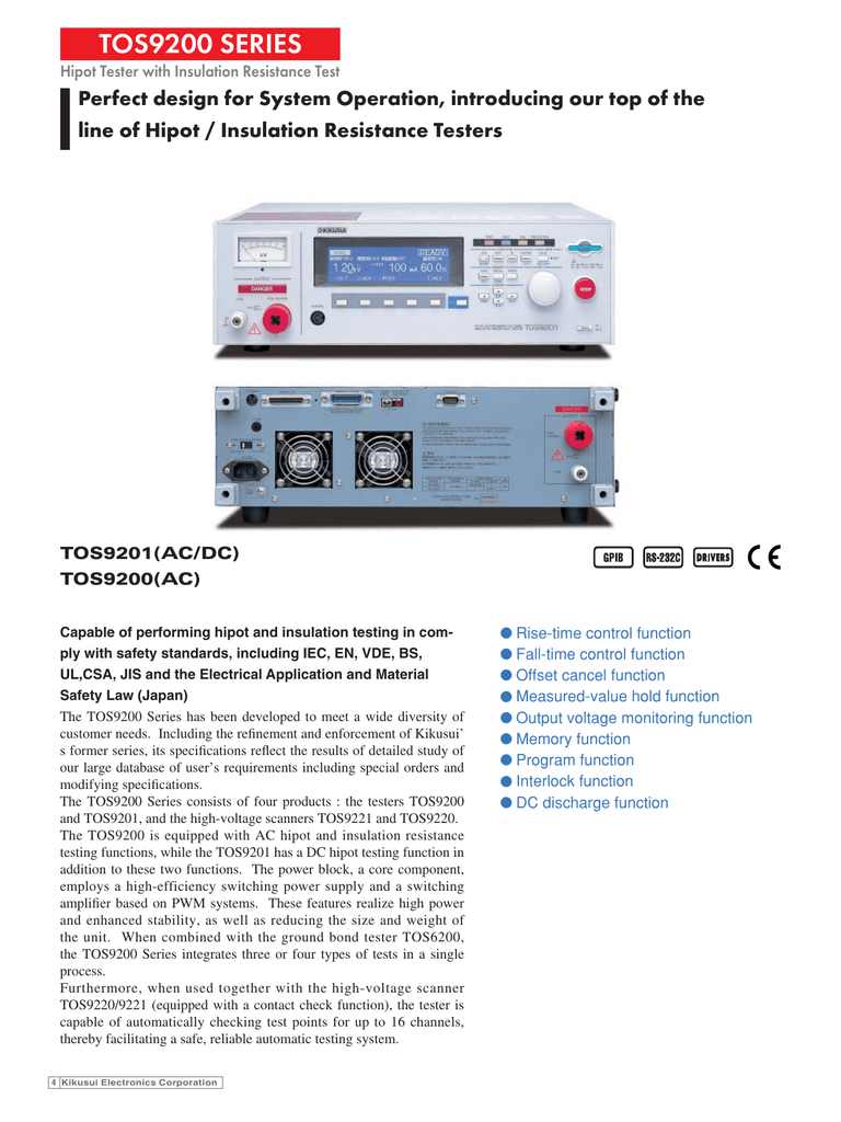 Hipot Tester With Insulation Resistance Test Tos9200series Constant 5kv