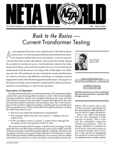 Back to the Basics — Current Transformer Testing