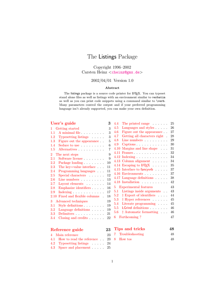 The Listings Package