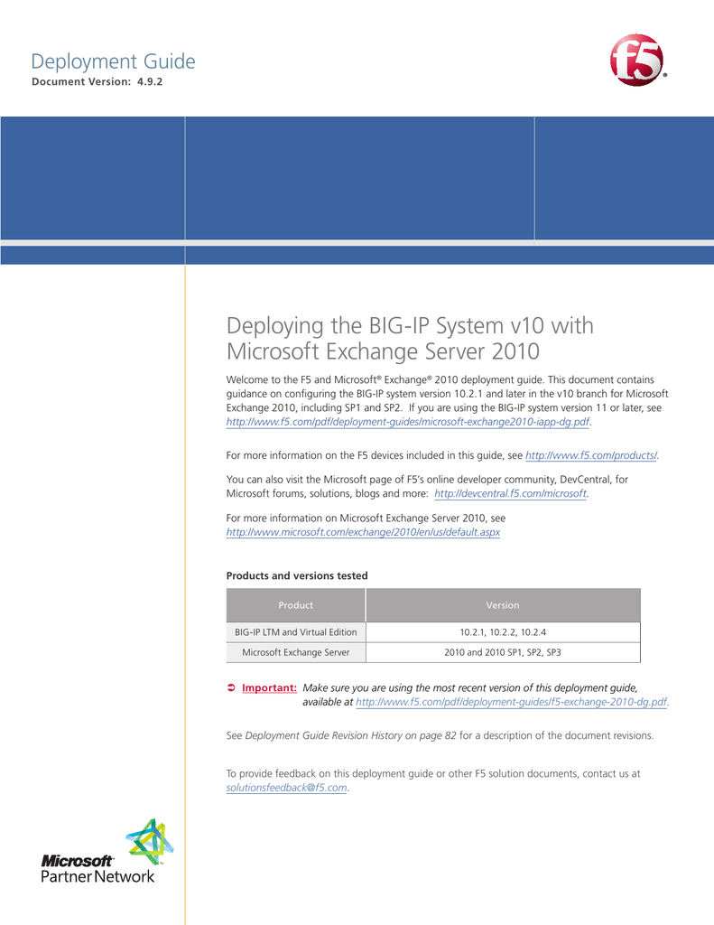 Deploying F5 with Microsoft Exchange 2010