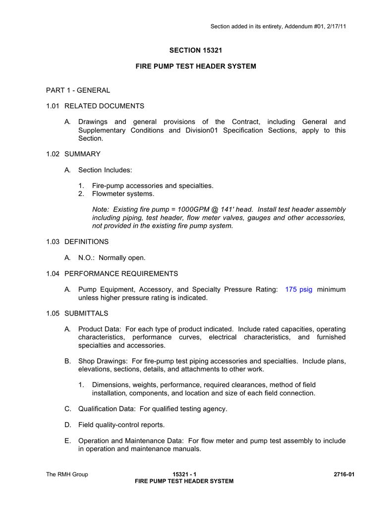 SECTION 15321 FIRE PUMP TEST HEADER SYSTEM PART 1