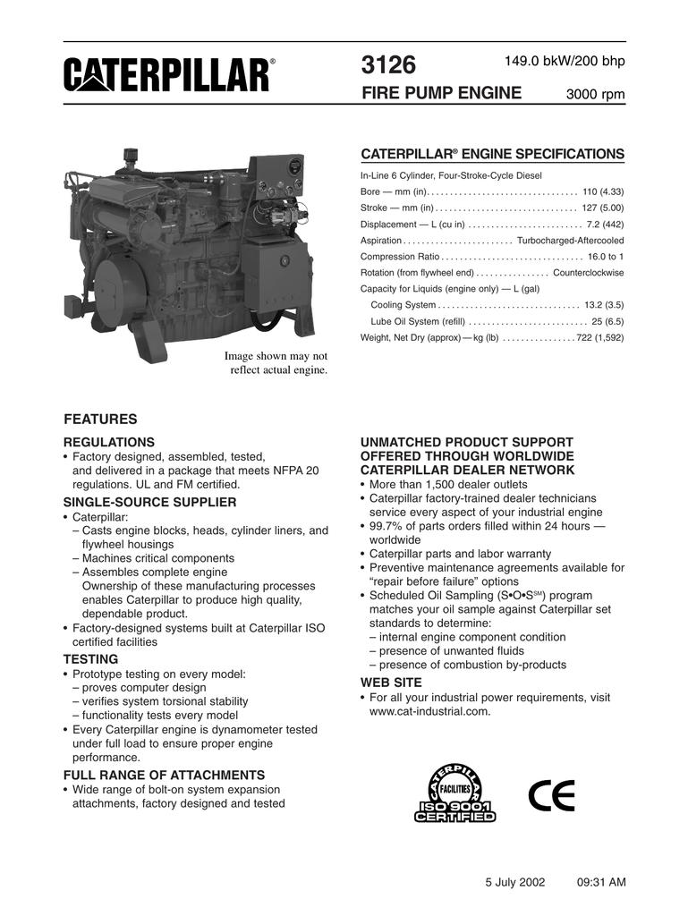 3126 fire pump engine