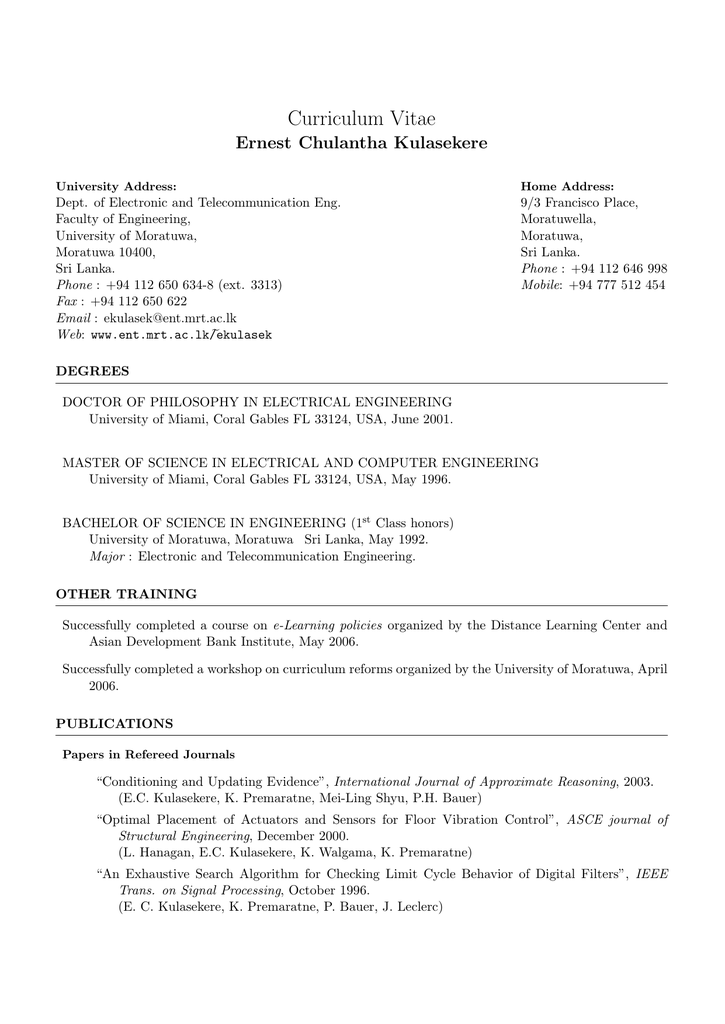 Curriculum Vitae Department Of Electronic And Telecommunication