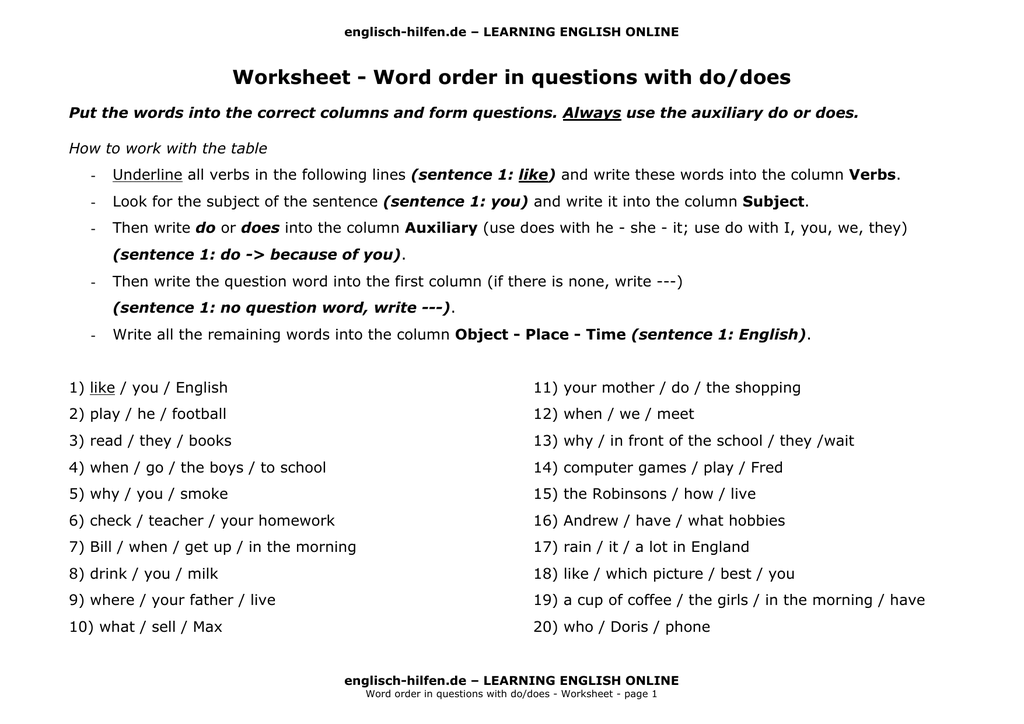 word order in english questions
