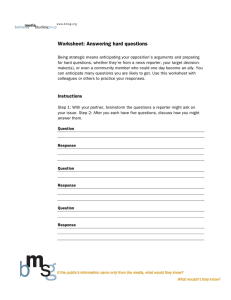 Worksheet: Answering hard questions
