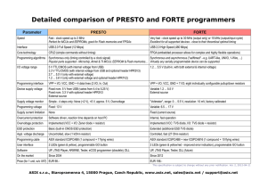 Detailed comparison of PRESTO and FORTE programmers