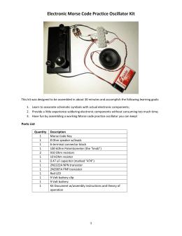 Electronic Morse Code Practice Oscillator Kit