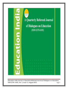 Education India Journal: A Quarterly Refereed Journal of Dialogues