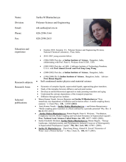 Dr. Sarika Bhattacharya - National Chemical Laboratory