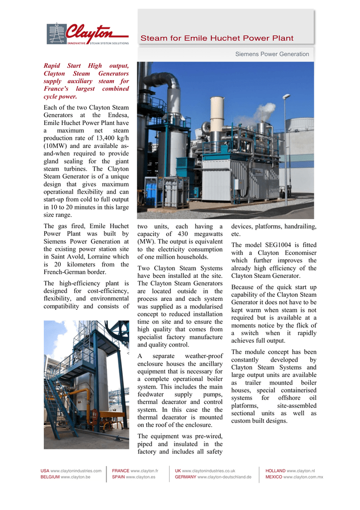Rapid Start High output Clayton Steam Generators supply auxiliary