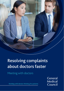 Resolving complaints about doctors faster: Meeting with doctors