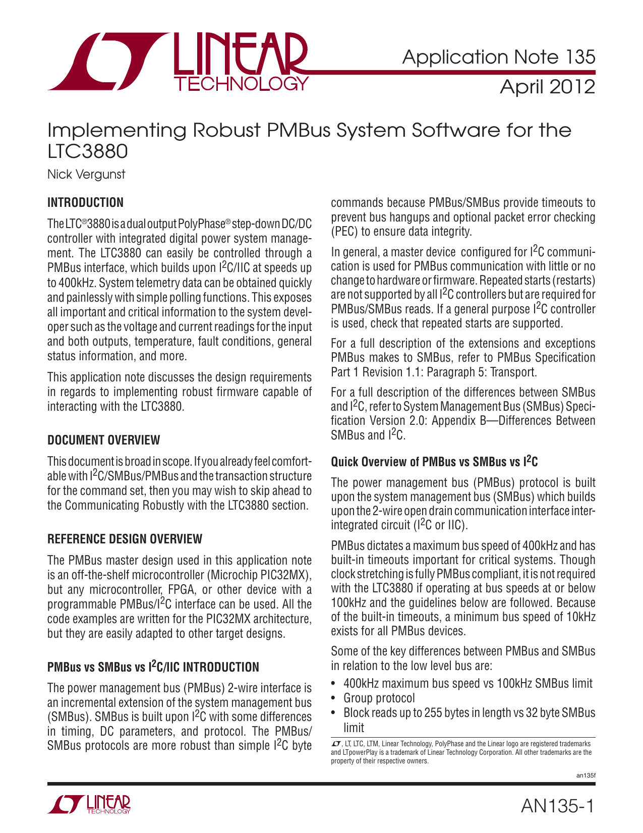 AN135 - Implementing Robust PMBus System