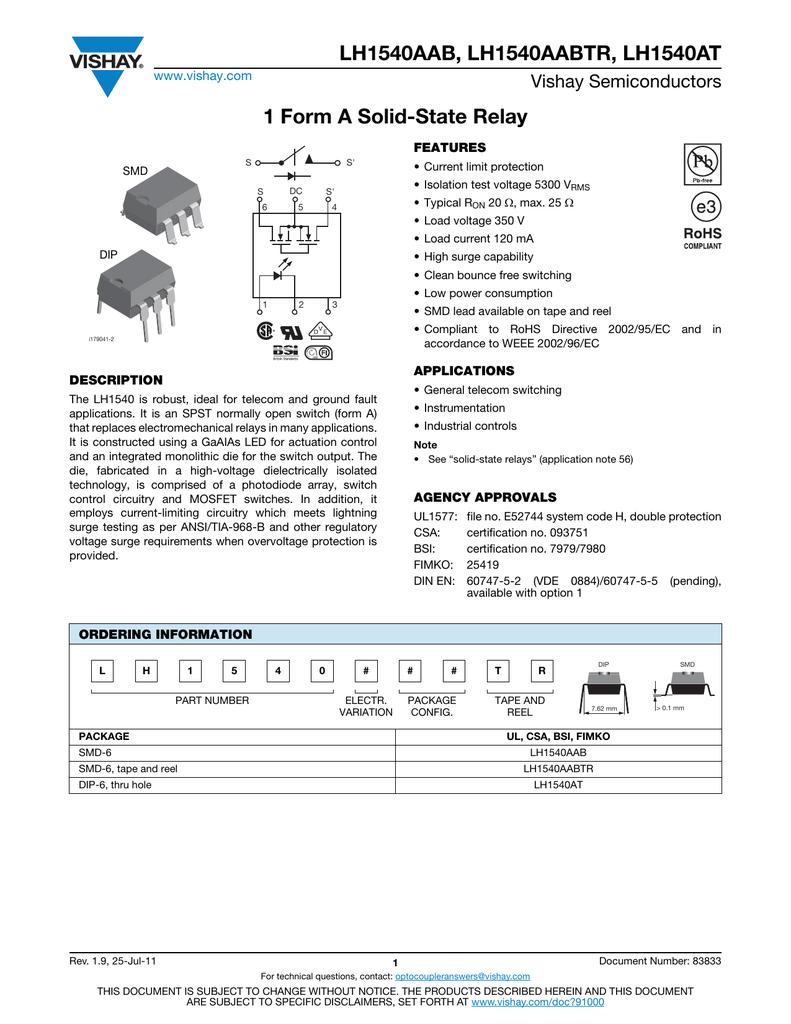 Lh1540at Datasheet Solid State Relay Vishay