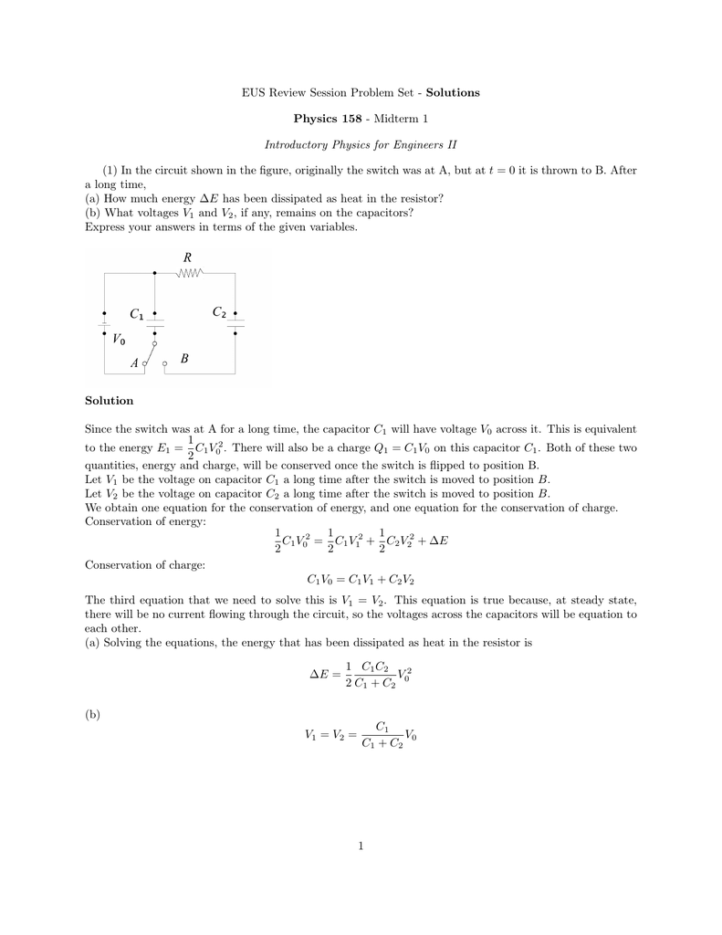 Solutions Physics 158 Midterm 1 Introductory Answer Circuit Has Switches In Series 2