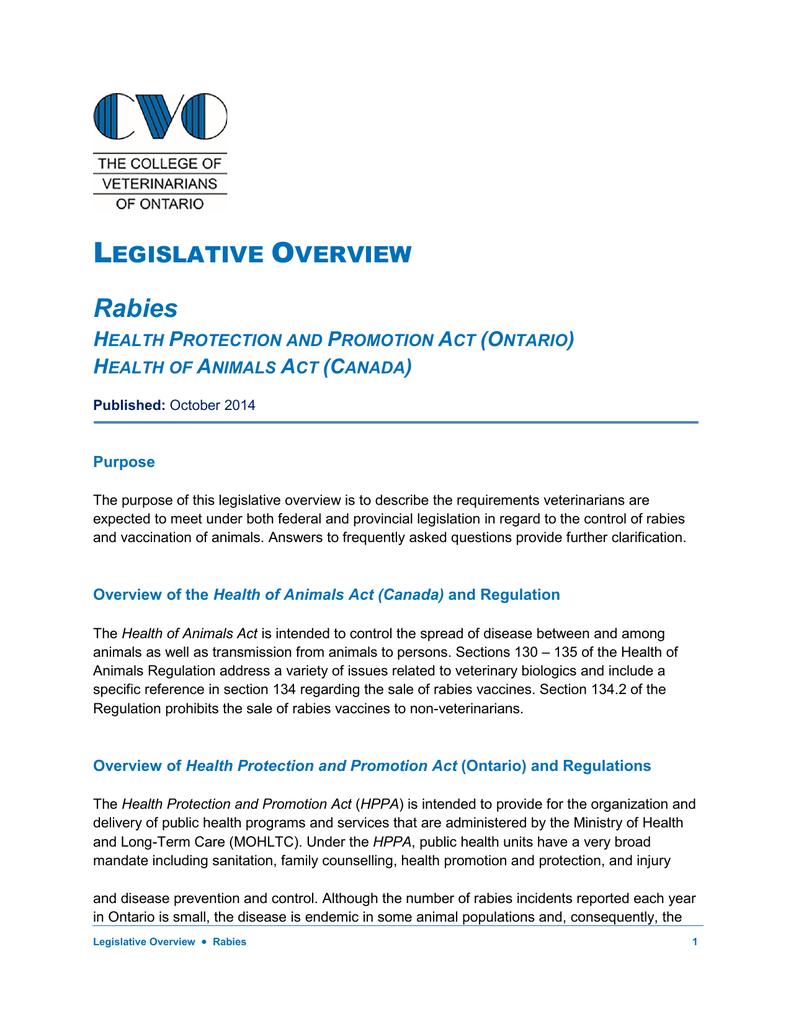 Legislative Overview Rabies - The College of Veterinarians of Ontario