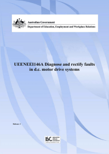 UEENEEI146A Diagnose and rectify faults in d.c. motor drive systems