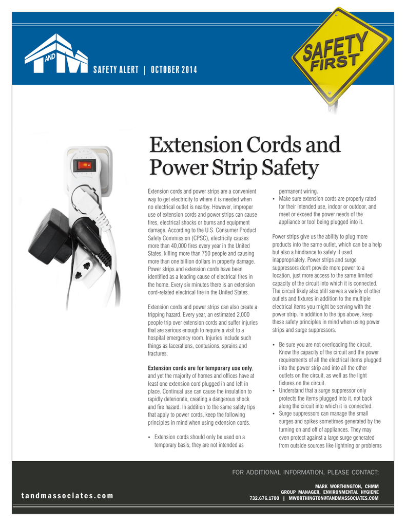 Extension Cords And Strip Safety