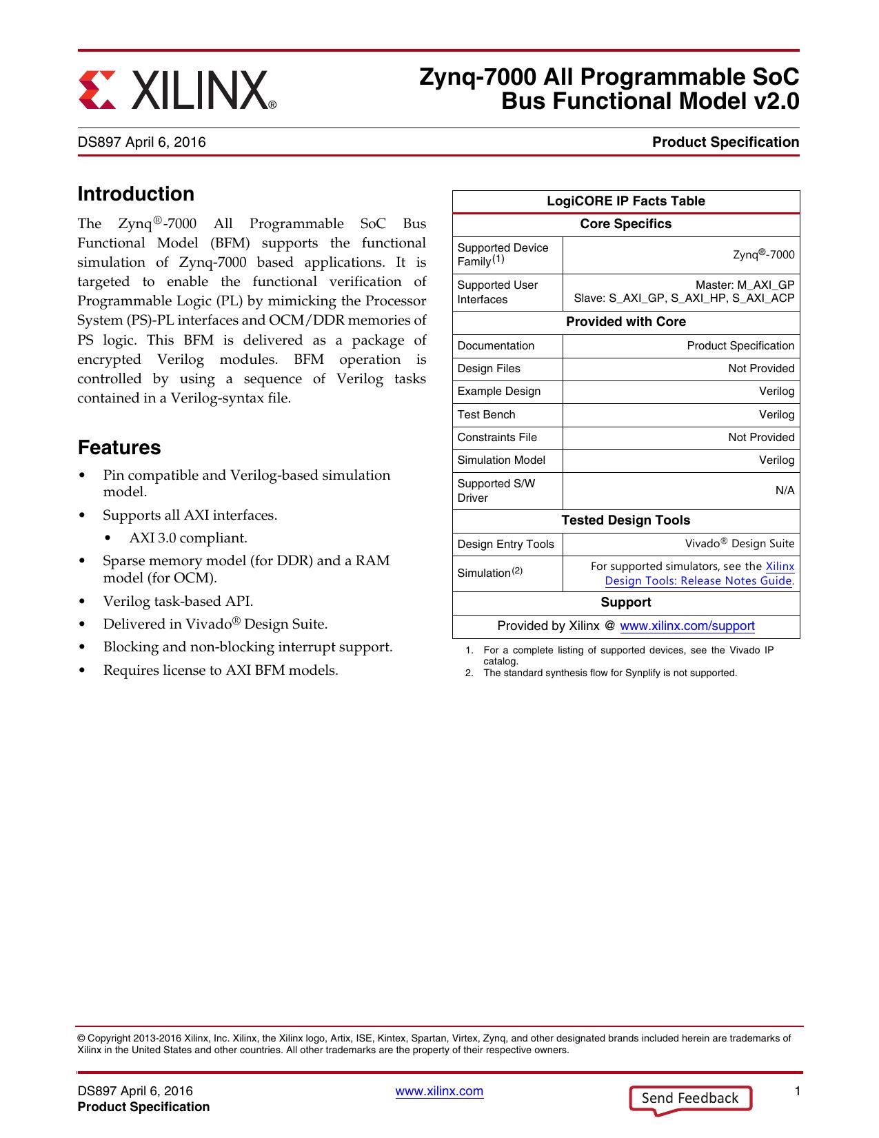 Xilinx DS897 Zynq-7000 Bus Functional Model, Data Sheet v 2 0