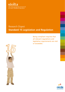 Standard 15: Legislation and Regulation