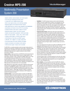 Spec Sheet: Crestron MPS-200 - Multimedia Presentation System 200