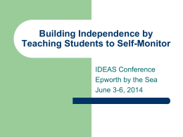 Building Independence by Teaching Students to Self