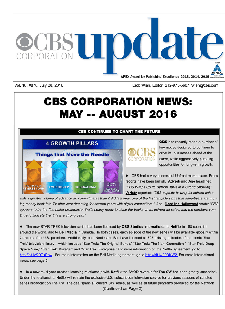 cbs corporation news: may -- august 2016