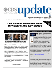 CBS. UPDATE. - CBS Weekly Update Newsletter