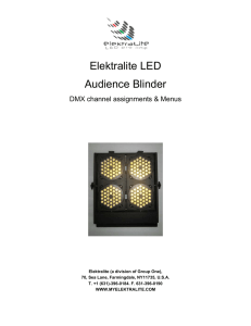 Elektralite Audience Blinder DMX channel assignments and Menus