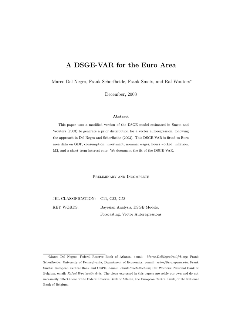 A DSGE-VAR for the Euro Area