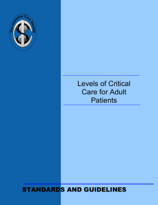 Levels of Critical Care for Adult Patients (2009).