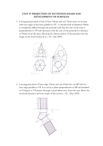 UNIT IV PROJECTION OF SECTIONED SOLIDS AND
