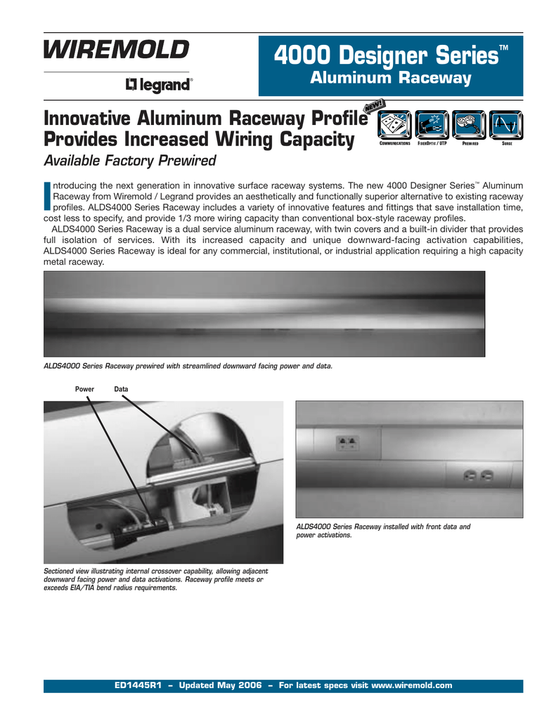 4000 Designer Series Aluminum Raceway Product Specifications