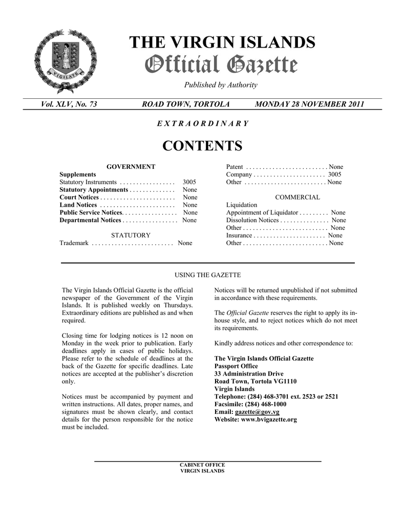contents - Government of the Virgin Islands