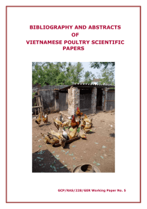 bibliography and abstracts of vietnamese poultry scientific papers