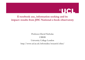 E-textbook use, information seeking and its impact: results from JISC