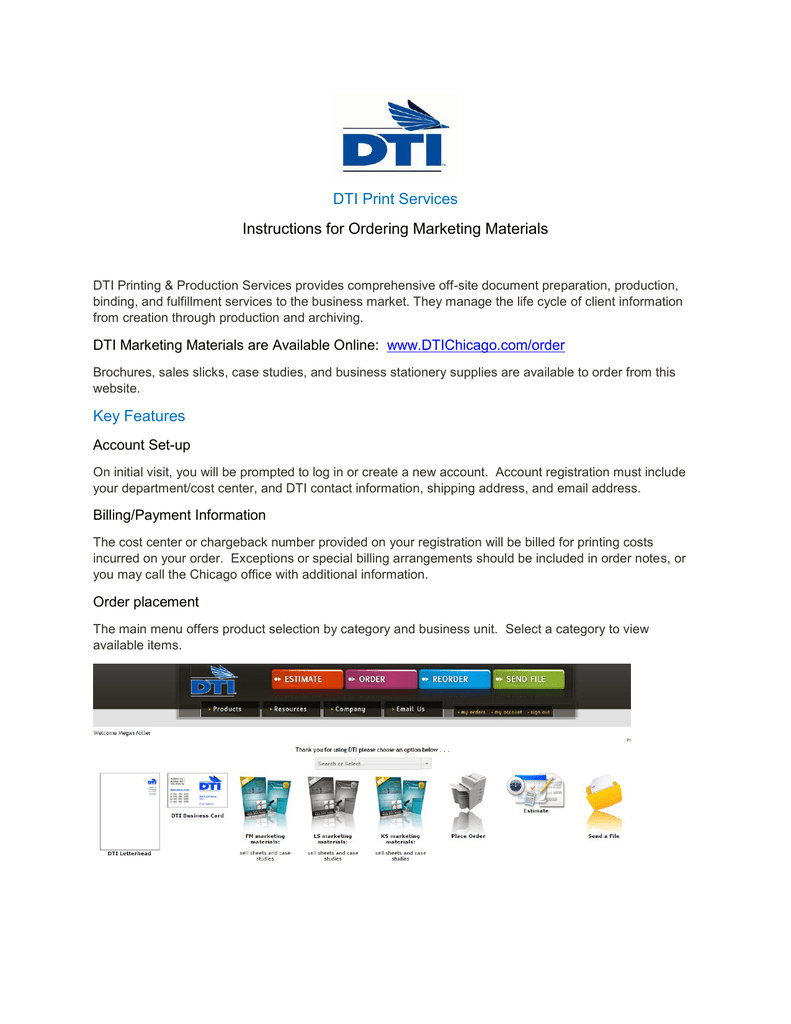 91bcddb7a DTI Print Services Instructions for Ordering Marketing Materials Key