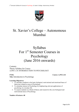 St. Xavier`s College – Autonomous Mumbai Syllabus For 1 Semester