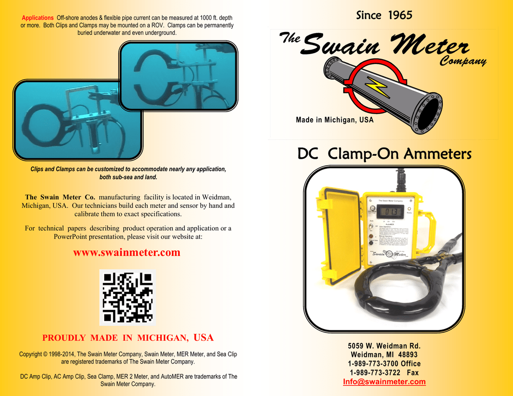 DC Clamp-On Ammeters - The Swain Meter Company