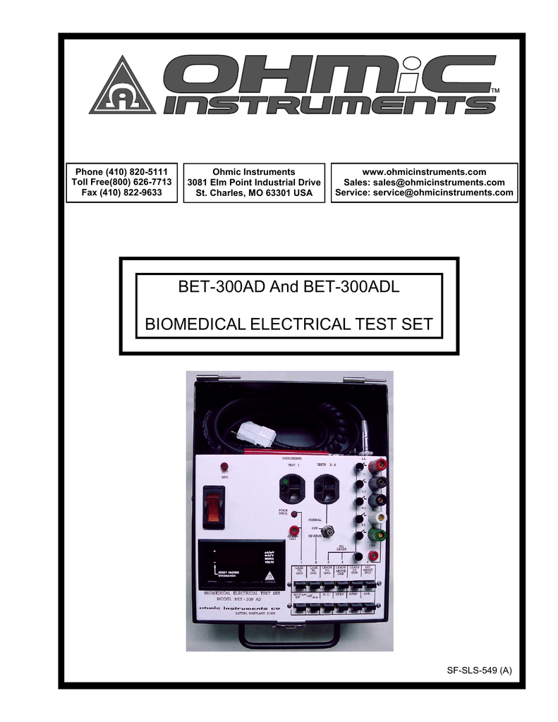 Bet 300ad And 300adl Biomedical Electrical Test Set Pushbutton Completes The Path For Current Flow Energizes Motor