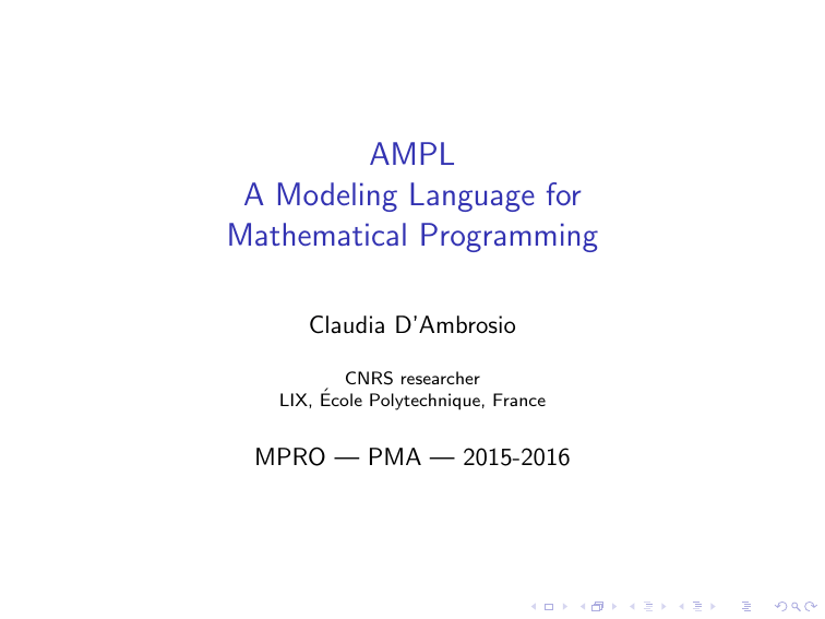 AMPL A Modeling Language for Mathematical Programming